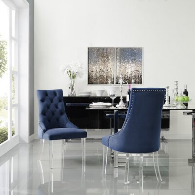Hannatou Upholstered Dining Chair Upholstery Color: Velvet Navy