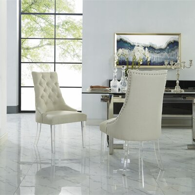 Hannatou Upholstered Dining Chair Upholstery Color: Linen Cream/White