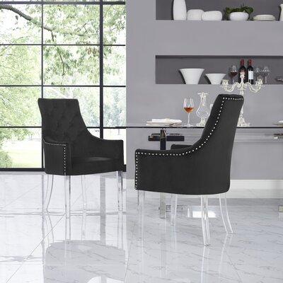 Hannatou Upholstered Button Tufted Dining Chair Upholstery Color: Velvet Black
