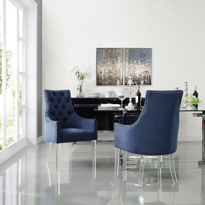 Hannatou Upholstered Button Tufted Dining Chair Upholstery Color: Velvet Navy