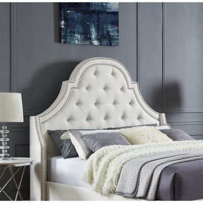Caspian Upholstered Panel Headboard Size: King, Upholstery: Linen Beige