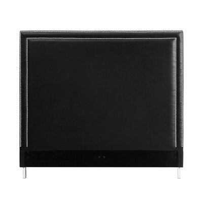 Oster Nailhead Trim Upholstered Panel Headboard Size: Queen, Upholstery: Black