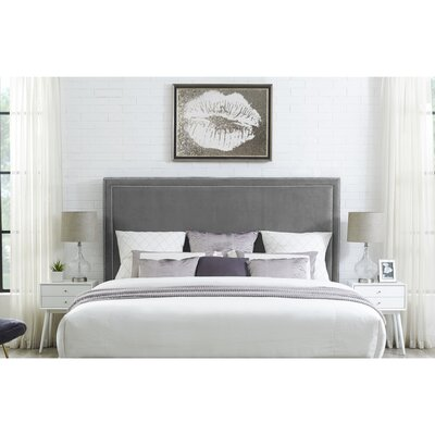 Oster Upholstered Panel Headboard Size: King, Upholstery: Velvet Gray