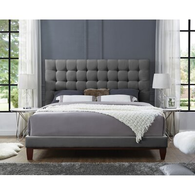 Randy Upholstered Panel Bed Color: Gray, Upholstery: Velvet, Size: King