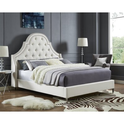 Caspian Upholstered Platform Bed Color: Beige, Upholstery: Linen, Size: Queen