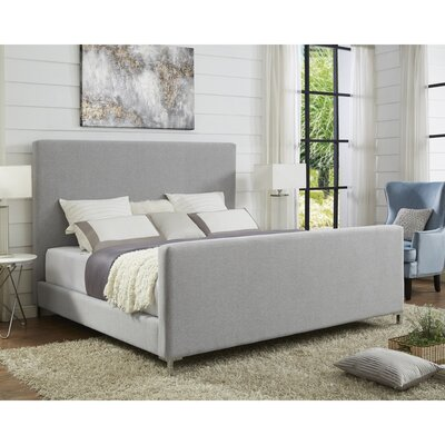 Ranstead Upholstered Panel Bed Color: Gray, Size: King