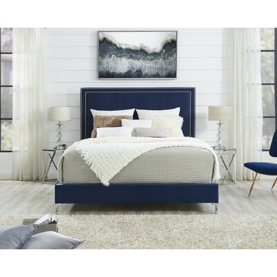 Oster Upholstered Panel Bed Color: White, Upholstery: Leather, Size: King
