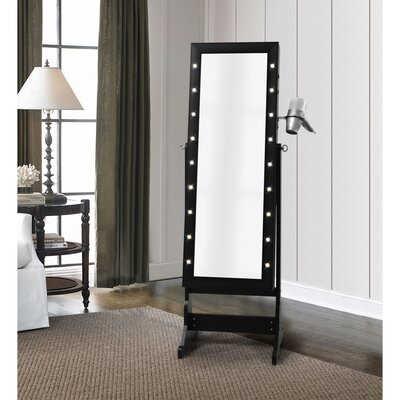Ruckman Marquee Light Storage Jewelry Armoire with Mirror Color: Black