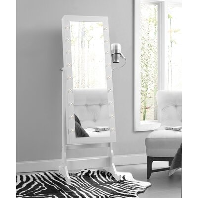 Ruckman Marquee Light Storage Jewelry Armoire with Mirror Color: White