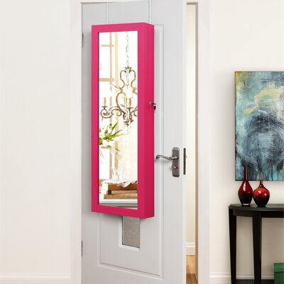 Rieves Over the Door Makeup Storage Jewelry Armoire with Mirror Color: Fuchsia