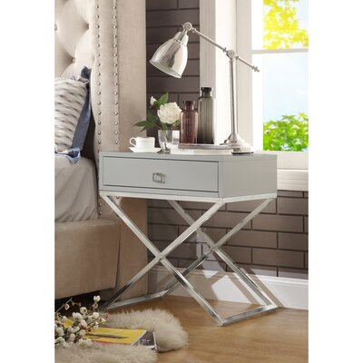 Marianna End Table Table Base Color: Chrome, Table Top Color: Light Gray