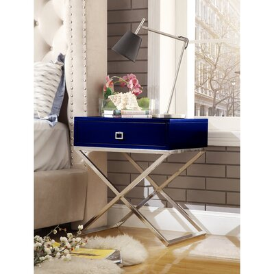 Marianna End Table Table Base Color: Chrome, Table Top Color: Navy