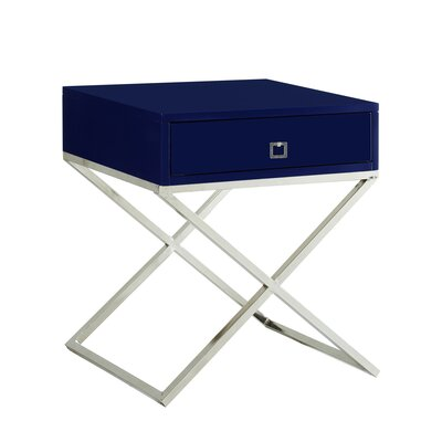 Marianna End Table Table Base Color: Chrome, Table Top Color: White