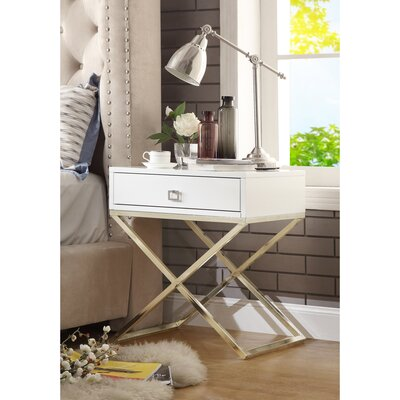 Marianna End Table Table Base Color: Gold Steel, Table Top Color: White