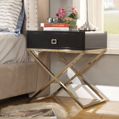 Marianna End Table Table Base Color: Chrome, Table Top Color: Black