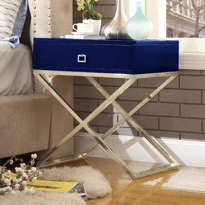 Marianna End Table Table Base Color: Gold Steel, Table Top Color: Navy