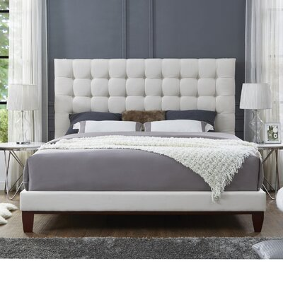 Randy Upholstered Panel Bed Color: Beige, Upholstery: Linen, Size: Queen