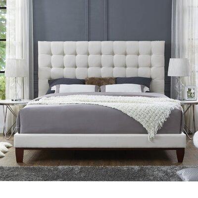 Randy Upholstered Platform Bed Color: Beige, Upholstery: Linen, Size: King