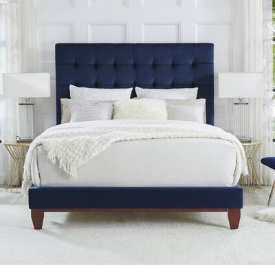 Randy Upholstered Platform Bed Color: Navy, Upholstery: Velvet, Size: Queen