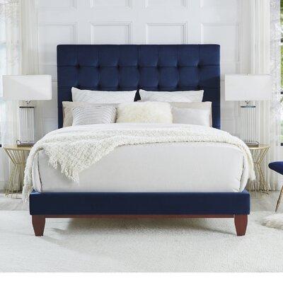 Randy Upholstered Panel Bed Color: Navy, Upholstery: Velvet, Size: Queen