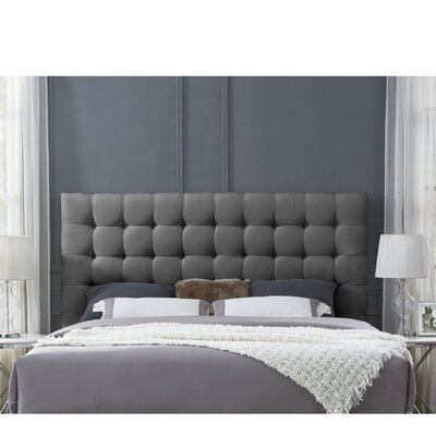 Randy Upholstered Panel Headboard Size: King, Upholstery: Linen Gray