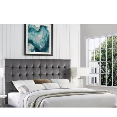 Randy Upholstered Panel Headboard Size: King, Upholstery: Velvet Gray