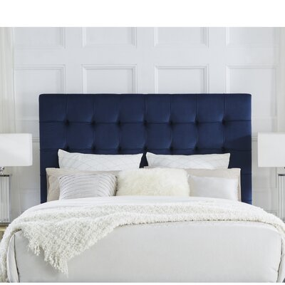 Randy Upholstered Panel Headboard Size: Queen, Upholstery: Velvet Navy