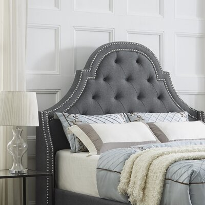 Caspian Upholstered Panel Headboard Size: Queen, Upholstery: Linen Gray