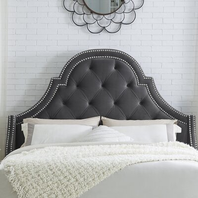 Caspian Upholstered Panel Headboard Size: Queen, Upholstery: Velvet Gray