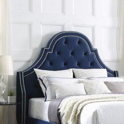 Caspian Upholstered Panel Headboard Size: King, Upholstery: Velvet Navy