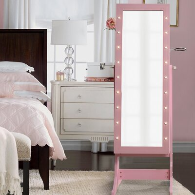Ruckman Marquee Light Storage Jewelry Armoire with Mirror Color: Blush