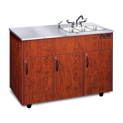 Silver Advantage 48 x 24 Triple Bowl Portable Handwash Station with Storage Cabinet Finish: Cherry