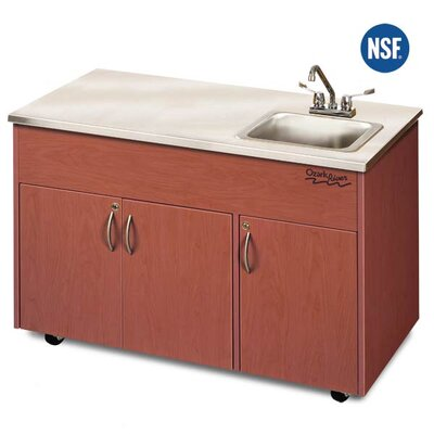 "Ozark River Portable Sinks Silver Advantage 48"" x 24"" Deep Basin Single Bowl Portable Handwash Station with Storage Cabinet - Finish: Cherry at Sears.com"