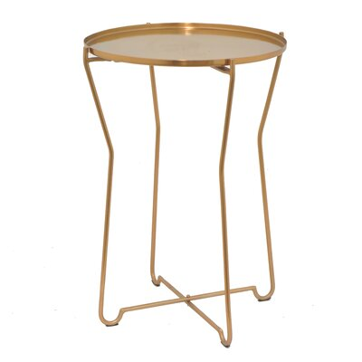 Round Metal End Table Color: Bronze