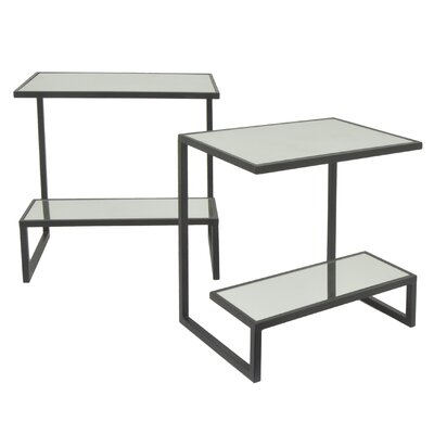Rectangular 2 Tier Metal Mirror Top 2 Piece Nesting Tables Color: Black