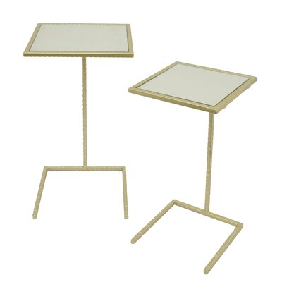 Square Metal Mirror Top 2 Piece Nesting Tables