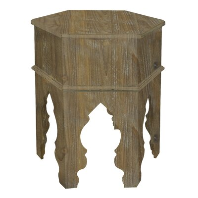 Wood Moroccan Inspired End Table Color: Distressed White