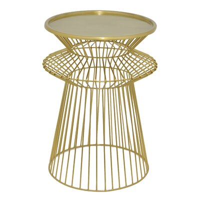 Round Metal End Table Finish: Gold
