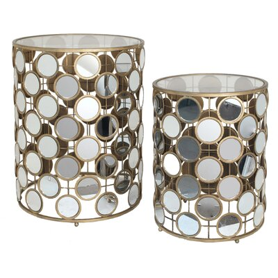 Mirrored 2 Piece Nesting Tables