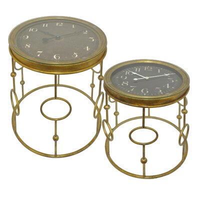 Functional Clock 2 Piece Nesting Tables