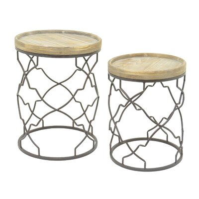 Metal and Wood 2 Piece Nesting Tables