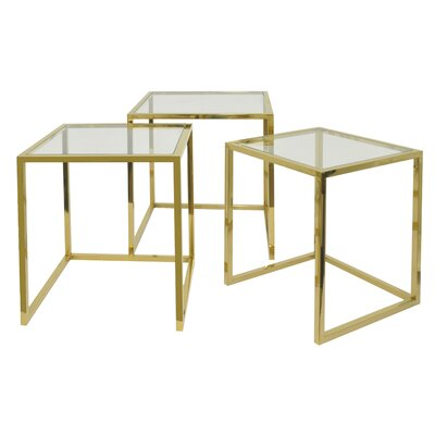 3 Piece Nesting Tables Color: Gold