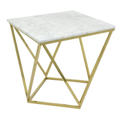 Metal and Marble End Table