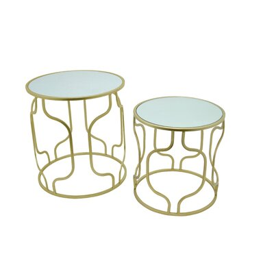 Metal and Mirror 2 Piece Nesting Tables