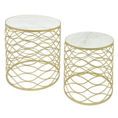 Metal and�Marble 2 Piece Nesting Tables
