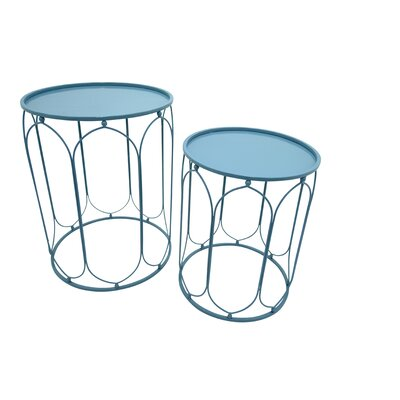 Metal 2 Piece Nesting Tables Color: Blue