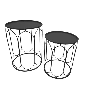 Metal 2 Piece Nesting Tables Finish: Black