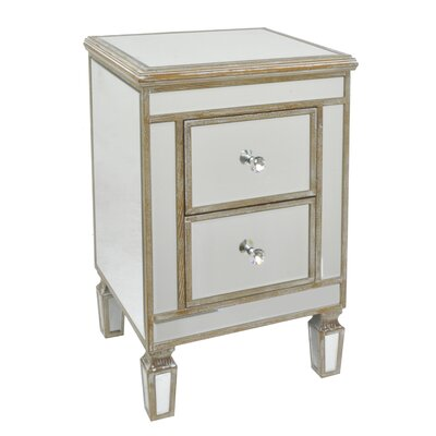 2 Drawer Mirror End Table