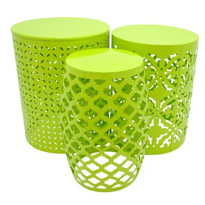 Metal 3 Piece Nesting Tables Finish: Green