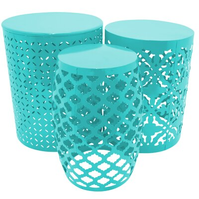Metal 3 Piece Nesting Tables Finish: Turquoise